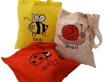 3pk Cute Tote Bags LADYBIRD/SNAIL & BEE