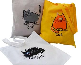 3pk Cute Tote Bags Ginger Cat/Black Cat/Grey Cat