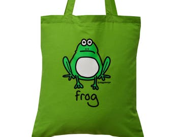 Cute Hop FROG green cotton Tote Bag
