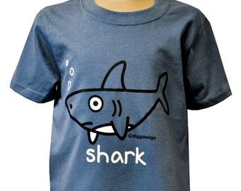 Unisex kids SHARK t.shirt. Cotton