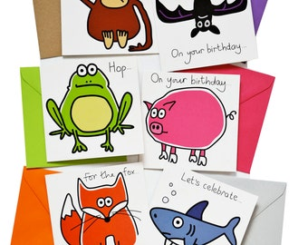 PACK of 6 mixed Birthday Cards. Coloured envelopes.
