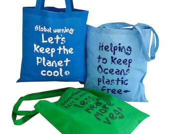 Pack of 3 'Save the planet' Cotton Tote Bags