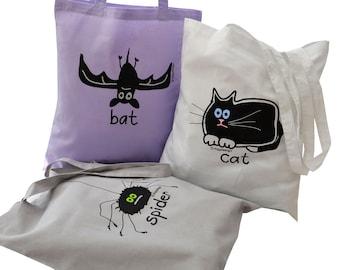 3pk Tote Bags Black Cat/Bat/Spider