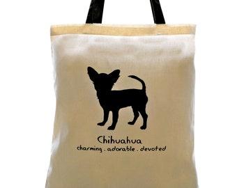 CHIHUAHUA Dog Cream Cotton Tote Bag. Contrast Black Handles.