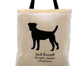 JACK RUSSELL Dog Cream Cotton Tote Bag. Contrast Black Handles.