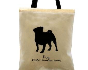 PUG Dog Cream Cotton Tote Bag. Contrast Black Handles.