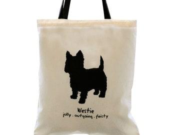 WESTIE Dog Cream Cotton Tote Bag. Contrast Black Handles.