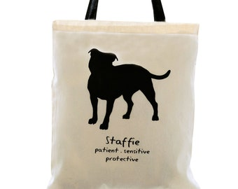 STAFFIE Dog Cream Cotton Tote Bag. Contrast Black Handles.