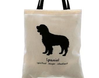 SPRINGER SPANIEL Dog Cream Cotton Tote Bag. Contrast Black Handles.