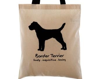 BORDER TERRIER Cream Cotton Tote Bag