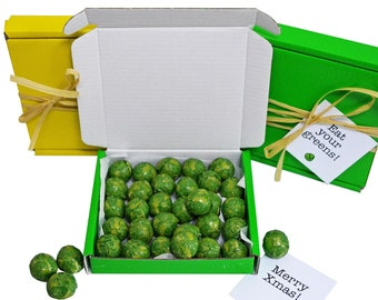 Tiny treats! Little Green box of chocolate sprouts! Ideal Xmas novelty gift etc. Personalisable.