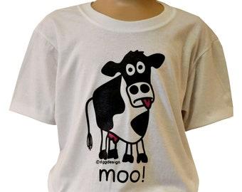Kids unisex moo! 'Cow'  White T.shirt