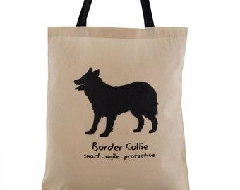 BORDER COLLIE Dog Cream Cotton Tote bag