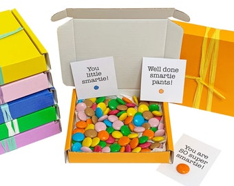 Tiny treats! Little orange box of chocolate smarties. Ideal Well done/exam pass/team gift etc. Personalisable.