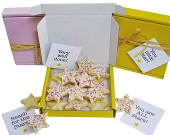 Tiny treats! Little box of chocolate stars. Ideal Well done/exam pass/thank you gift etc. Personalisable.