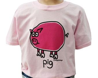Kids unisex Light Pink Oink! PIG T.shirt