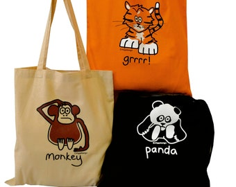 3pk Cute Tote Bags Tiger/Panda/Monkey