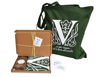 VEGAN theme gift set. Green cotton tote bag + Vegan chocolate Fudge in a Gift box. Personalisable.