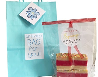 Eco friendly 'BIRTHDAY' blue gift bag with bag of luxury handmade fudge. Various flavour choices. Personalise.