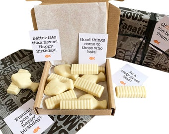 Tiny treats! Little Newspaper box of chocolate fish & chips! Ideal birthday/belated/team gift etc. Personalisable.
