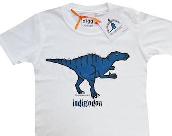Kids unisex Iguanadon Dinosaur Cotton T.shirt. Sent in a fun rainbow mailbag!