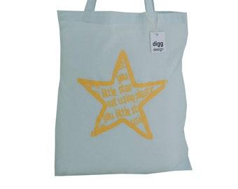 Cute 'You Little Star!' cotton Tote Bag. Pastel blue.