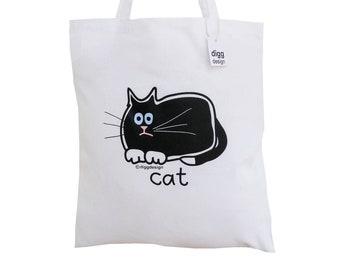 Cute purrrfect BLACK CAT cotton Tote Bag