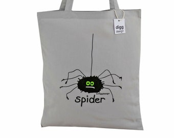 Cute creepy SPIDER grey cotton Tote Bag. Ideal for Halloween!
