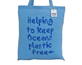 Cool 'Save the oceans!' Sky blue cotton Tote Bag