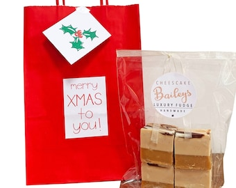 Eco friendly 'CHRISTMAS' gift bag with bag of luxury handmade fudge. Various flavour choices. Personalise.