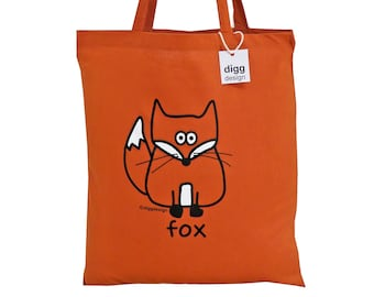Cute foxy FOX rusty red cotton Tote Bag. Lovely for Autumn!