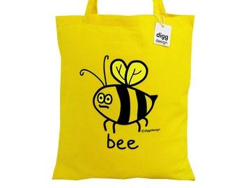Cute Buzzy BEE yellow cotton Tote Bag