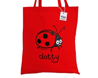Cute Dotty LADYBIRD red cotton Tote Bag