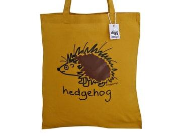 Spikey HEDGEHOG Mustard brown cotton Tote Bag