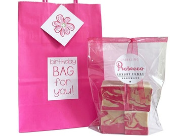 Eco friendly 'BIRTHDAY' pink gift bag with bag of luxury handmade fudge. Various flavour choices. Personalise.