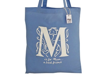 Stylish 'M is for MUM' Skyblue cotton Tote Bag