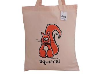 Cute SQUIRREL Pastel Pink cotton Tote Bag