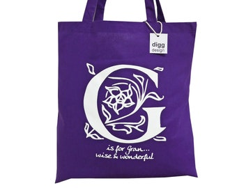Stylish 'G is for GRAN' deep purple cotton Tote Bag