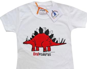 Kids unisex Stegosaurus Dinosaur Cotton T.shirt. Sent in a fun rainbow mailbag!