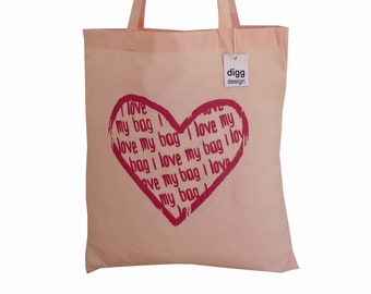 Cute 'Heart - I love my bag!' cotton Tote Bag. Pastel pink