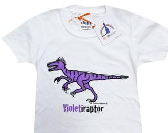 Kids unisex Velociraptor Dinosaur Cotton T.shirt. Sent in a fun rainbow mailbag!
