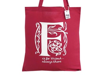 Stylish 'F is for FRIEND' deep red cotton Tote Bag