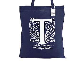 Stylish 'T is for TEACHER' navy blue cotton Tote Bag