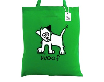 Cute Woof Dog Kelly Green cotton Tote Bag