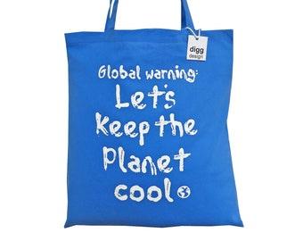 Cool 'Global Warming' Aqua blue cotton Tote Bag