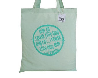 Cute 'Target - aim to use!' cotton Tote Bag. Pastel Mint green