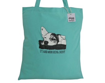 Cheeky JACK RUSSELL Mint green cotton Tote Bag