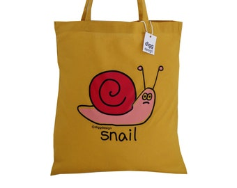 Cute SNAIL Mustard cotton Tote Bag