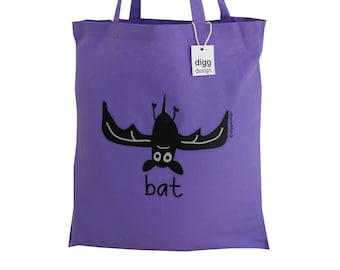 Cute whoooaa BAT purple cotton Tote Bag. Ideal for Halloween!