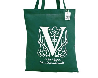 Gorgeous 'V is for VEGAN' khaki green cotton Tote Bag